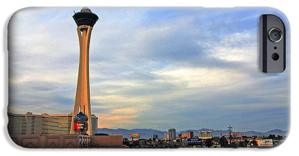 Architectur iPhone Cases - The Stratosphere in Las Vegas iPhone Case by Susanne Van Hulst