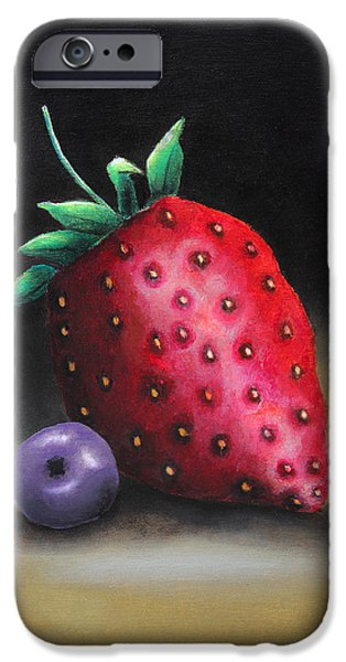 Crops Drawings iPhone Cases - The strawberry and the blueberry iPhone Case by Nirdesha Munasinghe