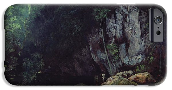 Cavern iPhone Cases - The Stream from the Black Cavern iPhone Case by Gustave Courbet