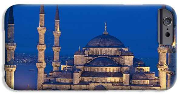 Colour Image iPhone Cases - The Sultanahmet Or Blue Mosque At Dusk iPhone Case by Axiom Photographic