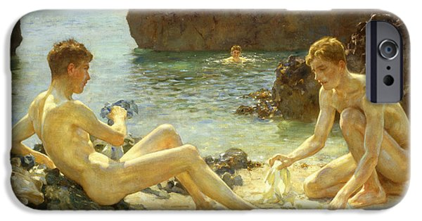 Ocean iPhone Cases - The Sun Bathers iPhone Case by Henry Scott Tuke