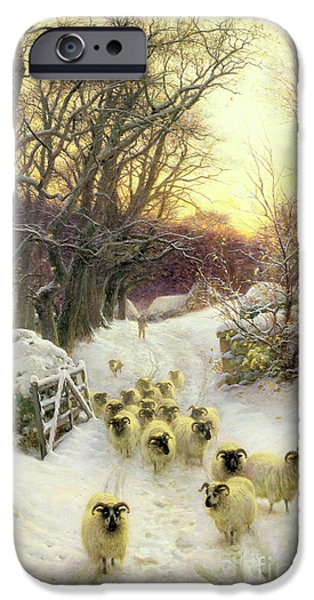 Snow iPhone Cases - The Sun Had Closed the Winters Day  iPhone Case by Joseph Farquharson