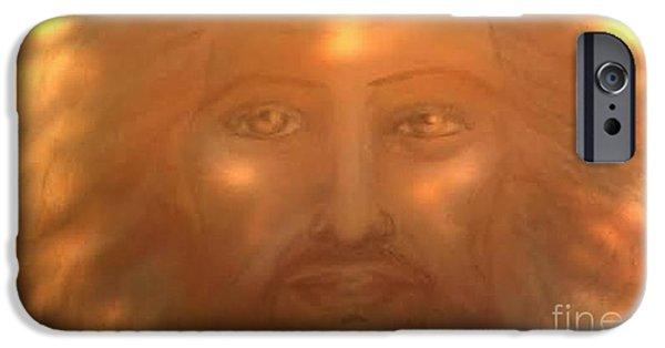 Son Of God Pastels iPhone Cases -  Jesus The Sun of God  iPhone Case by Jennifer Kamadon