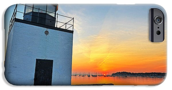 New England Lighthouse iPhone Cases - The sun rises on Derby Light in Salem MA Salem Harbor iPhone Case by Toby McGuire