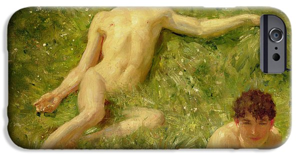 Young Paintings iPhone Cases - The Sunbathers iPhone Case by Henry Scott Tuke
