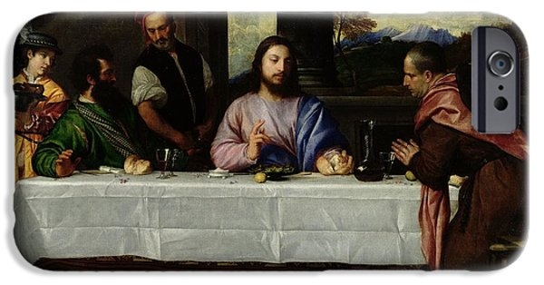 Wine Canvas Paintings iPhone Cases - The Supper at Emmaus iPhone Case by Titian