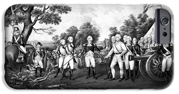 Flag iPhone Cases - The Surrender of General Burgoyne iPhone Case by War Is Hell Store