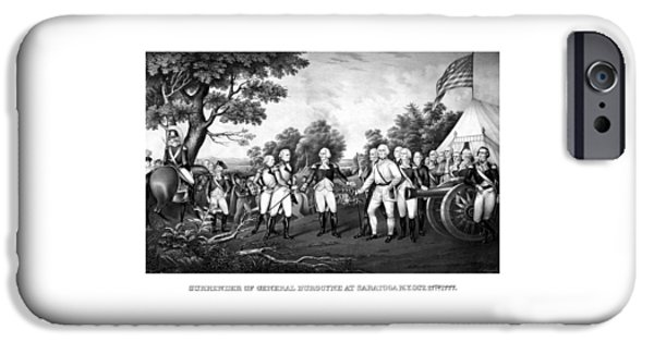 War Drawings iPhone Cases - The Surrender of General Burgoyne iPhone Case by War Is Hell Store