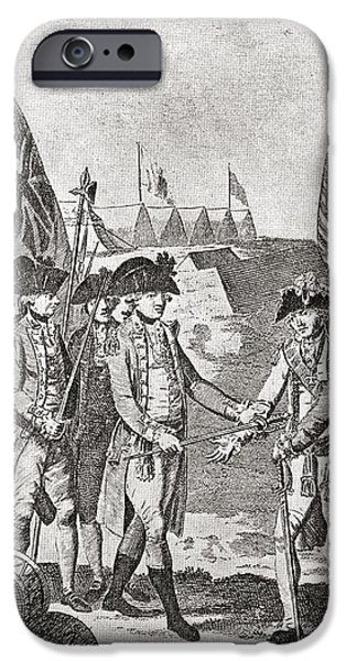 Yorktown Drawings iPhone Cases - The Surrender Of Lord Charles iPhone Case by Vintage Design Pics