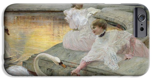 Swans... iPhone Cases - The Swans iPhone Case by Joseph Marius Avy
