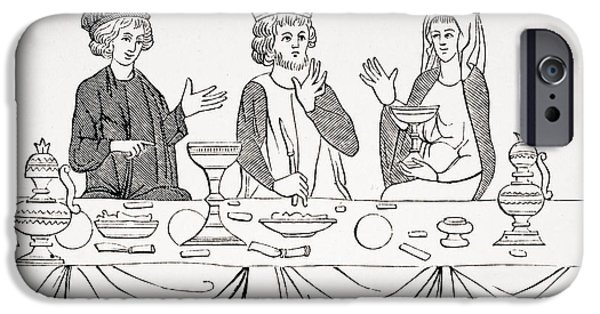 Table Wine Drawings iPhone Cases - The Table Of A Baron As Laid Out In The iPhone Case by Vintage Design Pics