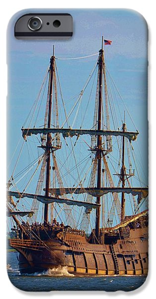 Pirate Ships iPhone Cases - The Tall Ship El Galeon iPhone Case by Bob Sample