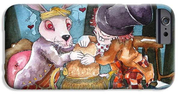Mad Hatter iPhone Cases - The Tea Party iPhone Case by Lucia Stewart