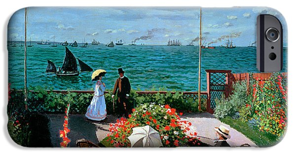 Sailing Paintings iPhone Cases - The Terrace at Sainte Adresse iPhone Case by Claude Monet