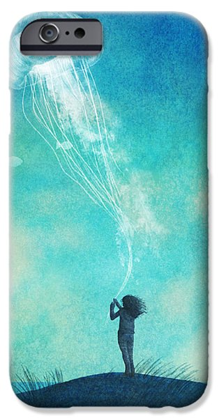 Ocean Drawings iPhone Cases - The Thing About Jellyfish iPhone Case by Eric Fan