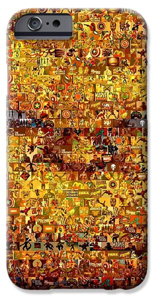 Mosaic Drawings iPhone Cases - The Thing mosaic iPhone Case by Paul Van Scott