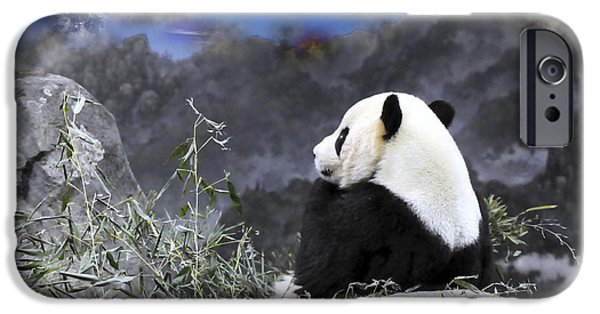 Smithsonian iPhone Cases - THE THINKER Tai Shan in Repose Giant Panda  iPhone Case by Jonathan Whichard