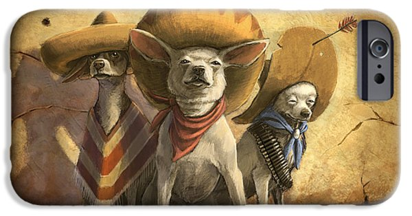 Dog iPhone Cases - The Three Banditos iPhone Case by Sean ODaniels