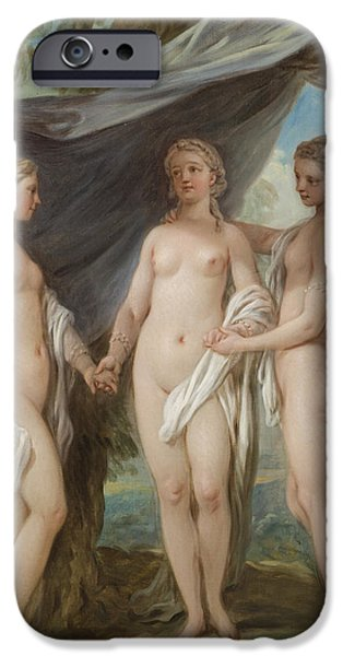 Sheets iPhone Cases - The Three Graces iPhone Case by Charles-Amedee-Philippe van Loo