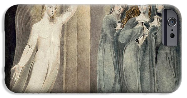 Sepulchre Drawings iPhone Cases - The Three Maries at the Sepulchre iPhone Case by William Blake