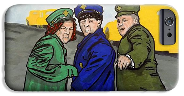Police iPhone Cases - The Three Stooges iPhone Case by Mary Sperling