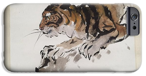 The Tiger iPhone Cases - The Tiger At Rest iPhone Case by Fereshteh Stoecklein