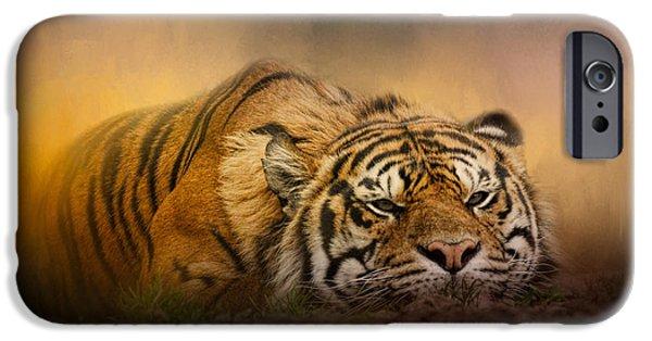 Wild Animals iPhone Cases - The Tiger Awakens iPhone Case by Jai Johnson