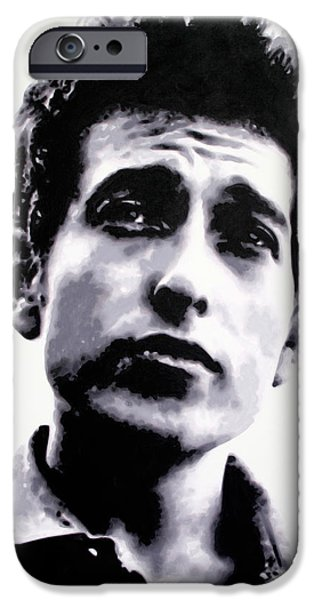 Bob Dylan Paintings iPhone Cases - The Times They Are A Changin . .  iPhone Case by Luis Ludzska