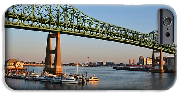 Boston Ma iPhone Cases - The Tobin Bridge Into the Sunset Chelsea Yacht Club iPhone Case by Toby McGuire
