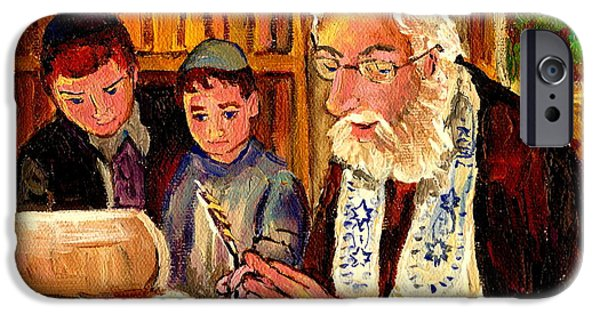 Lubavitcher iPhone Cases - The Torah Scribe iPhone Case by Carole Spandau