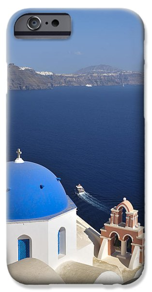 From The Dome iPhone Cases - The Town Of Fira, The Capital iPhone Case by Bill Collins