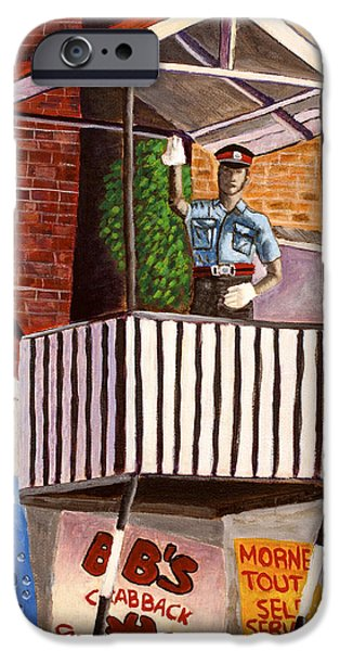 Police Officer Paintings iPhone Cases - The Traffic Officer iPhone Case by Laura Forde