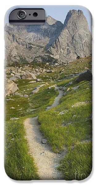 Thoroughfare iPhone Cases - The Trail Overlooking The Cirque iPhone Case by Alan Majchrowicz