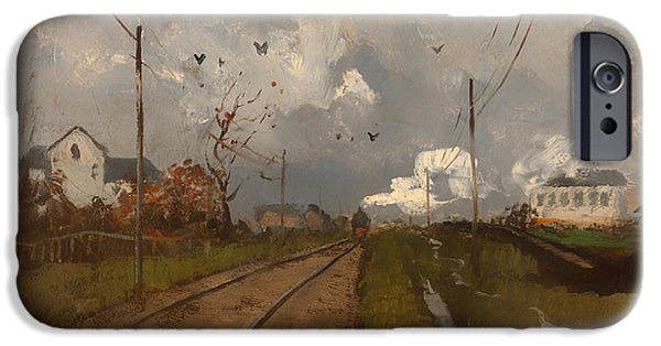 Dark Skies Paintings iPhone Cases - The Train Is Arriving iPhone Case by Frits Thaulow