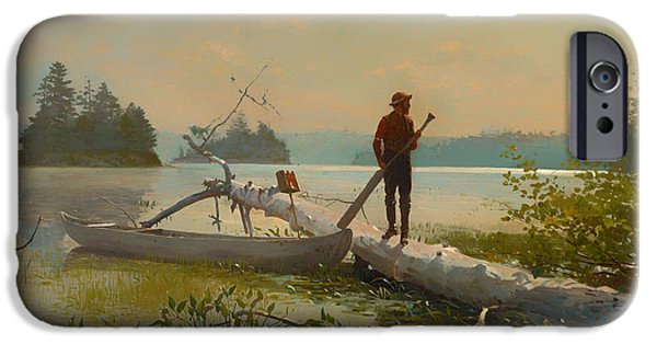 Oars Paintings iPhone Cases - The Trapper iPhone Case by Winslow Homer