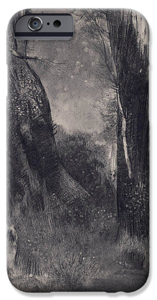 20th Drawings iPhone Cases - The Trees iPhone Case by Odilon Redon