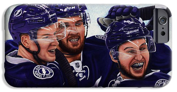 Hockey Paintings iPhone Cases - The Triplets iPhone Case by Marlon Huynh