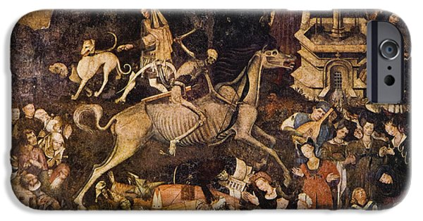 The Horse iPhone Cases - The Triumph Of Death, Medieval Fresco iPhone Case by Mehau Kulyk