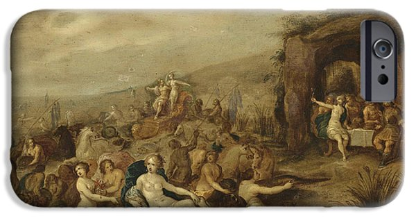Young Paintings iPhone Cases - The Triumph of Neptune and Amphitrite  iPhone Case by Frans Francken the Younger