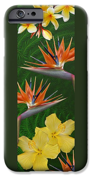 Floral Digital Art Digital Art iPhone Cases - The Tropics iPhone Case by Ben and Raisa Gertsberg
