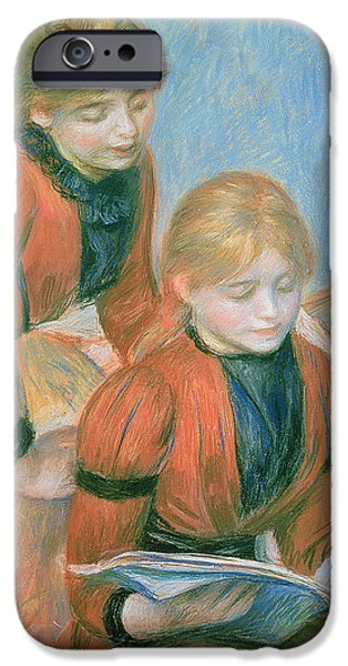 Renoir iPhone Cases - The Two Sisters iPhone Case by Pierre Auguste Renoir