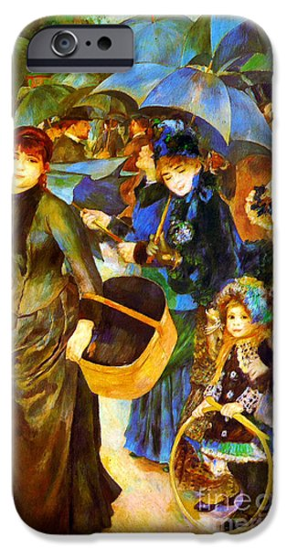 Recently Sold -  - Pastel iPhone Cases - The Umbrellas by Renoir iPhone Case by Pg Reproductions