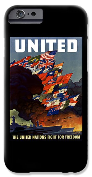Warship iPhone Cases - The United Nations Fight For Freedom iPhone Case by War Is Hell Store