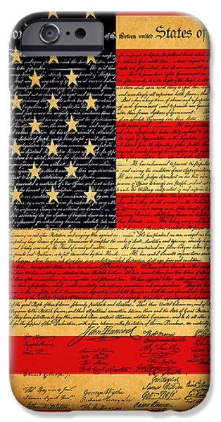 The United States Declaration of Independence - American Flag - square iPhone Case by Wingsdomain Art and Photography