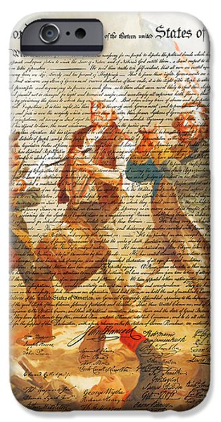 4th July Digital iPhone Cases - The United States Declaration of Independence And The Spirit of 76 20150704v1 iPhone Case by Wingsdomain Art and Photography