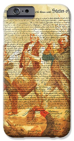 Fourth Of July iPhone Cases - The United States Declaration of Independence And The Spirit of 76 20150704v2 iPhone Case by Wingsdomain Art and Photography