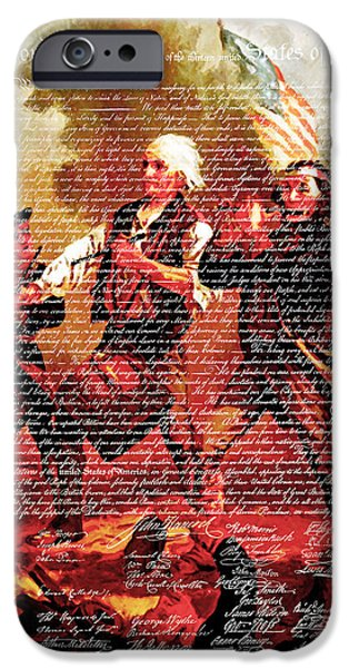 4th July Digital iPhone Cases - The United States Declaration of Independence And The Spirit of 76 20150704v3 iPhone Case by Wingsdomain Art and Photography