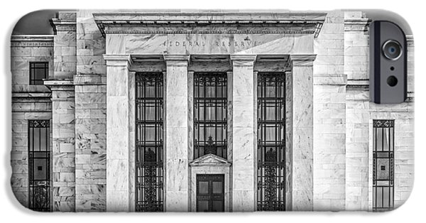 Finance iPhone Cases - The United States Federal Reserve BW iPhone Case by Susan Candelario