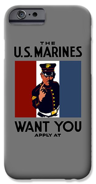 Marine iPhone Cases - The U.S. Marines Want You  iPhone Case by War Is Hell Store