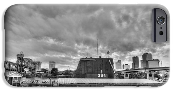 Arkansas iPhone Cases - The USS Razorback in Black and White iPhone Case by JC Findley